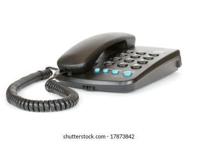 Telephone set on a white background
