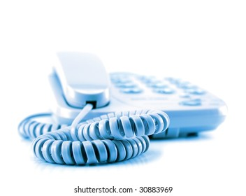 A telephone in a waiting mode isolated on a white background