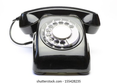 The telephone which restored widely in Japan in the 1970s. /Telephone in a white background