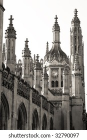 Telephoto shot of abundant gothic spires of King's College in Cambridge