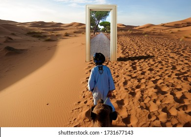 Teleport in the desert,Another location is visible through the door in front of the cameleer in the desert, door in the desert