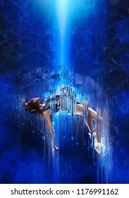 Teleportation to another world or dimension, scientific experiment. Future concept