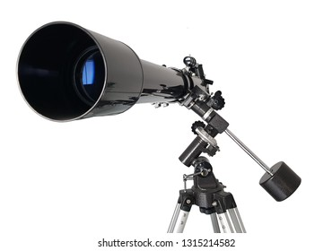 Telescope in front view, isolated on white background