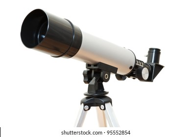 Telescope isolated on white background. Made from three images with all parts focus
