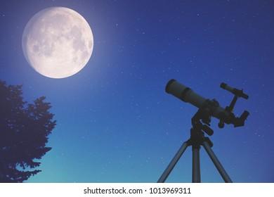 Telescope, Moon, stars and tree silhouette. My astronomy work.