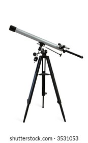 Telescope mounted on a tripod isolated on white. Clipping path included.