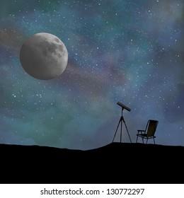 Telescope and night sky all digitally created.