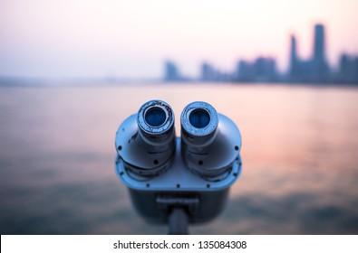 Telescope on the beach in Qingdao