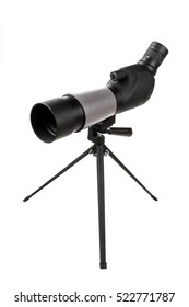 the telescope on a support on the isolated white background