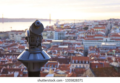 Telescope and panoramic view at Lisbon, Portugal