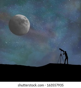 Telescope and person silhouette looking at the moon. Digitally created.