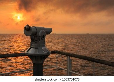 Telescope at the pier Heringsdorf in the sunrise, Baltic Sea, Usedom Island_012