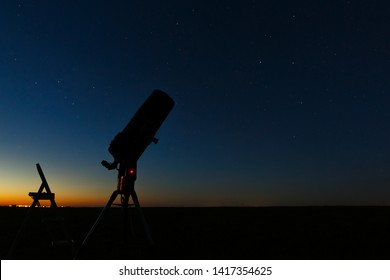 Telescope to study stars and planets is prepared for outdoor observations.