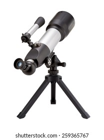 Telescope and Tripod isolated on white, with a clipping path. The image is in full focus, front to back.