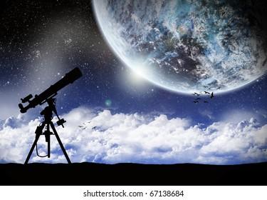 Telescope Under a space landscape