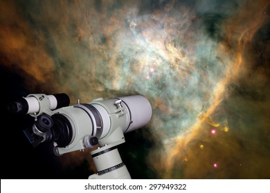Telescope watching the star. Elements of this image furnished by NASA.