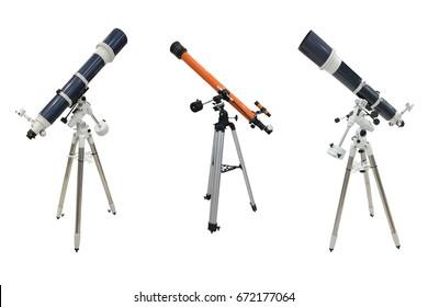 telescopes isolated on white background