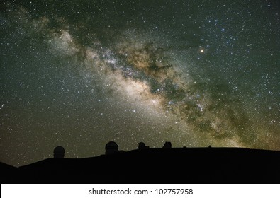Telescopes observe the Milky Way. These are on Mauna Kea, Hawaii; one of the best astronomical sites in the world.