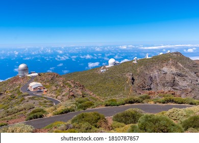 Telescopes of the Roque de los Muchachos national park on top of the Caldera de Taburiente, La Palma, Canary Islands. Spain