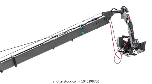 Telescopic camera crane for film and TV production isolated on white background. Crane telescopes.