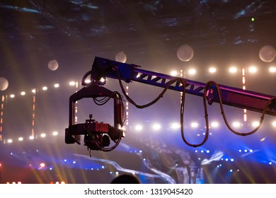 Telescopic crane with a video camera attached.