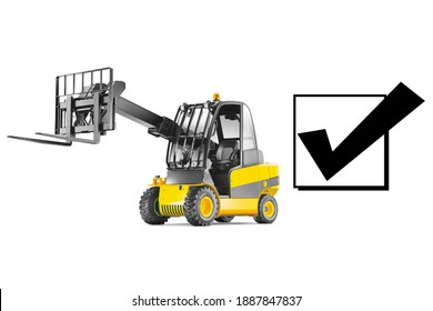 Telescopic Handler Isolated on White Background. Yellow Telehandler. Agriculture and Industry Machine. Teleporter Vehicle. Boom Lift. Cherry Pickers. Rough Terrain Forklift Truck Side View