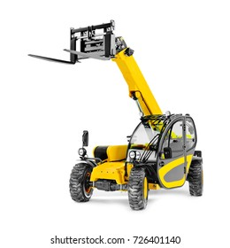 Telescopic Handler Isolated on White. Yellow Heavy Duty Telehandler. Rough Terrain Forklift Truck. Side View of Teleporter. Boom Lift. Cherry Pickers. Agriculture Vehicle and Industry Machine