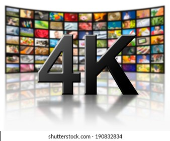 Television 4k resolution technology concept isolated on white.