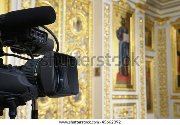 Television camera at the church.