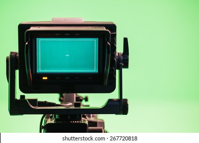 Television Camera in a green screen studio