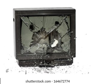 Television exploding isolated on white background. Old retro TV screen destruction.