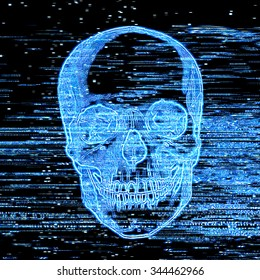 television horror channel, broken television picture, scary blue skull on television, scratches on the screen,