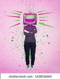 Television manipulation and brainwashing. Mass media propaganda control. Contemporary art collage, woman full length with old tv instead of head. Modern style poster zine culture concept.