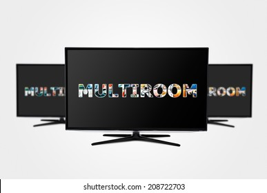 Television multi-room technology. Display with multiple masked images