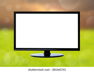 Television on nature background