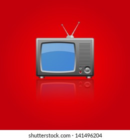 Television on red background