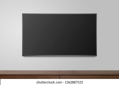 Television on white wall, TV 4K flat screen lcd or oled, plasma realistic illustration, Black blank HD monitor mockup, Modern video panel black flatscreen.