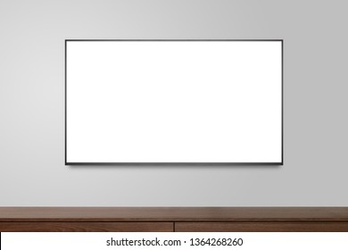 Television on white wall, TV 4K flat screen lcd or oled, plasma realistic illustration, White blank HD monitor mockup, Modern video panel black flatscreen.