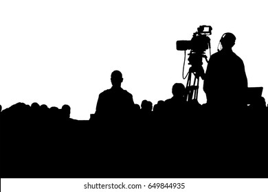 Television Press Conference production cameraman silhouette