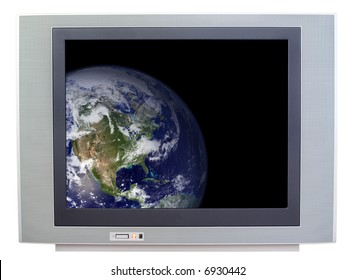 Television showing the Earth isolated on white background.  Public domain image of Earth courtesy of NASA.