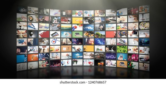 Television streaming video concept. Media TV video on demand technology. Video service with internet streaming multimedia shows, series. Digital collage wall of screen abstract composition