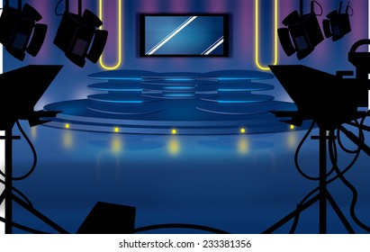 Television Studio with lights and cameras.