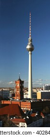 Television tower and townhall Rotes Rathaus at square Alexanderplatz in Berlin, Germany