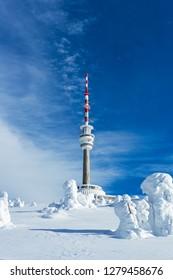 Television Transmitter Praded under Snow Cover in Jesenik, Czech Republic, Wintertime View
