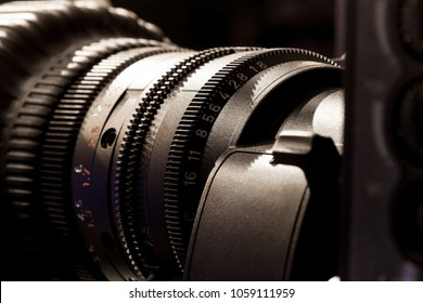 Television Video camera lens - recording show in TV studio - focus on camera aperture