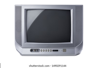 Television, Vintage portable tv with static screen isolated on white background.