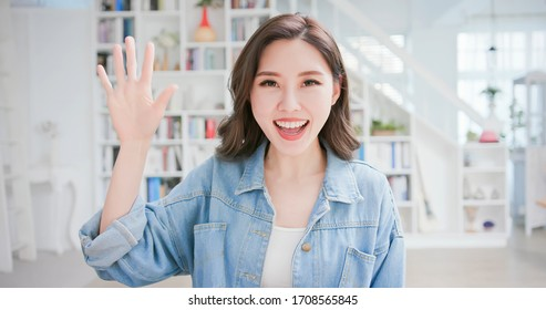 telework concept - Asian woman introduce herself on remote interview
