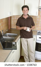 Telework - Working home in the kitchen