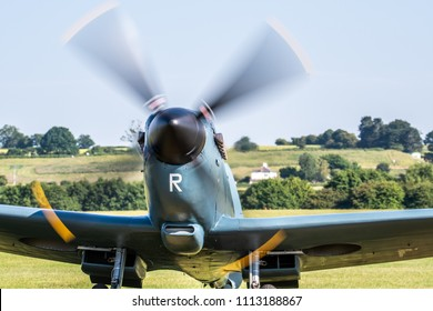 TELFORD, UK, JUNE 10, 2018 - A photograph documenting a solo supermarine Spitfire vintage aircraft running its engine at RAF Cosford