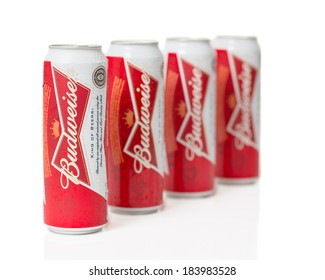 TELFORD, UK - March 25, 2014: Photo of cans of Budweiser lager beer.  Budweiser is the worlds largest selling beer brand and is brewed by the St. Louis USA based Anheuser-Busch company